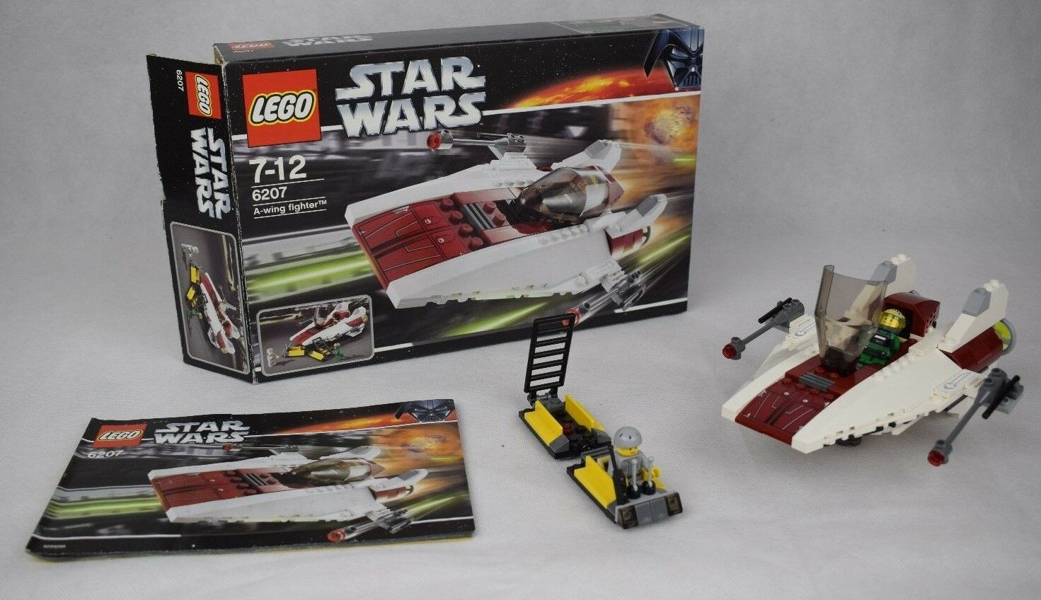 Lego Star Wars A wing Set 6207 100% Complete With Box Manual And Minifigures
