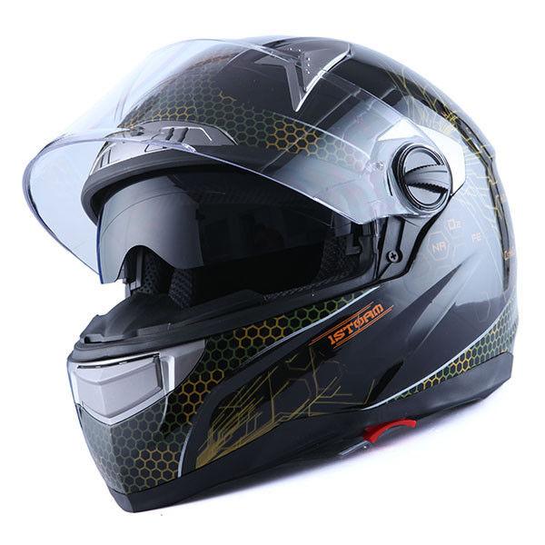 1STorm Motorcycle Bike Dual Visor Full Face Helmet Element Black S M L XL XXL