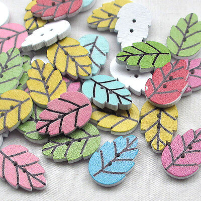New 10/50/100/500pcs Wood Buttons Leaf Leaves Sewing Craft DIY 2 Holes T0796