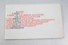 Minolta SLR System Manual+Rokkor+Lenses+Accessories+XK+English+Original+NICE