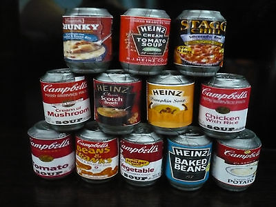 Set of 12 Food Canned  Dollhouse Miniatures Food Cans Supply Deco