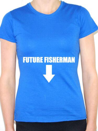 incinta a tema WOMEN/'S T-SHIRT PESCATORE futuro-Pesce pesca Gravidanza