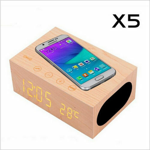 Wooden Qi Wireless Charger Bluetooth Speaker Alarm Clock for SAMSUNG iPhone X 10