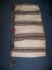 """Turkish Wool Kilim Rug CAMEL BAG 45""""x24"""" Rare WHITE/Brown Pillow 2"""" Straps"""