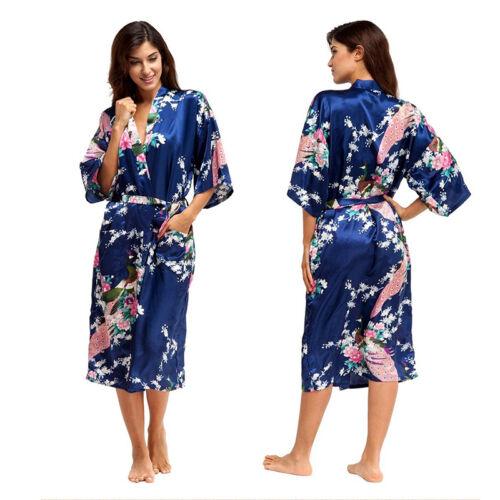 Bridesmaid Long Sleeve Kimono Robe Wedding Womens Satin Silk Sleepwear Nightwear