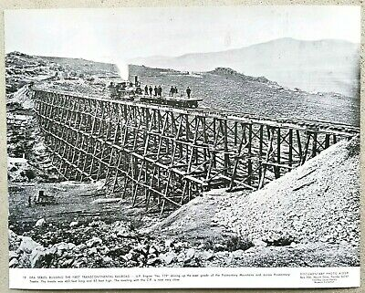 """Vintage 11x14 Photo /""""Building the First Transcontinental Railroad/"""" Promontory UT"""