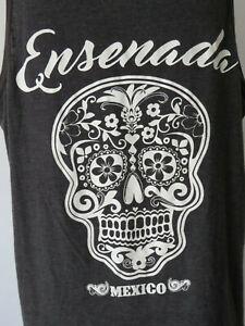 Men-039-s-BLACK-TANK-TOP-ENSENADA-MEXICO-SKULL-sleeveless-t-shirt-tee-XL-extra-large