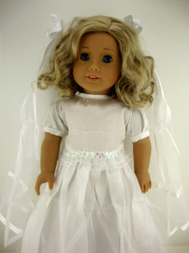White Wedding or Confirmation Gown with Sleeves and Long Veil Designed for 18 In