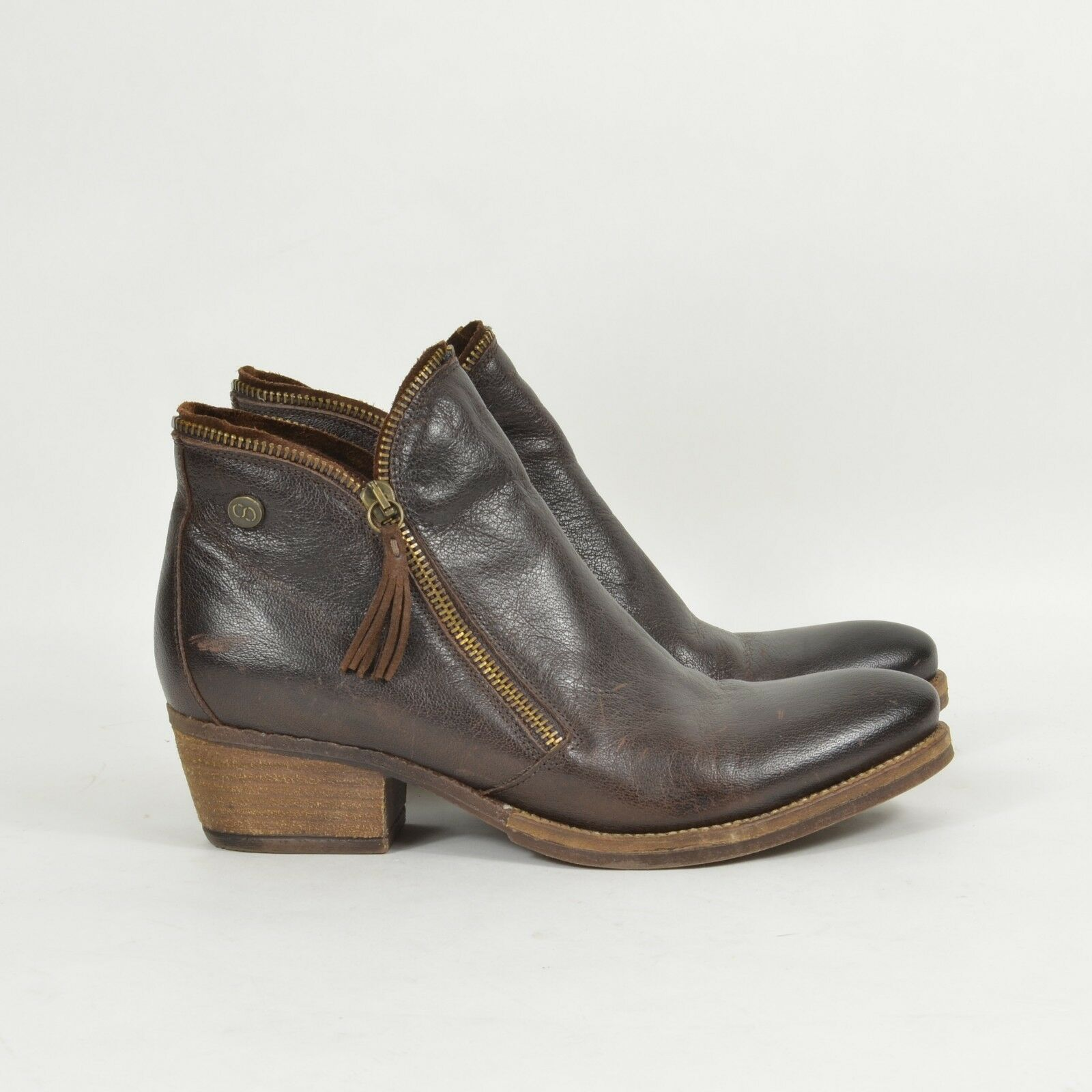 COQUE TERRA Coqueterra Lizzy Leather Zipper ANKLE BOOTS 39 Brown