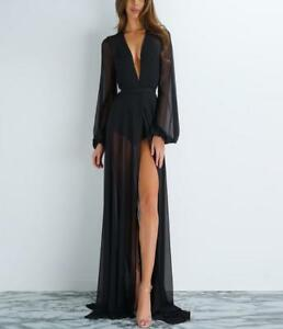 6e6bc7c9a1 Details about Women Sheer Black Maxi Dress Deep V Neck High Slit Long Party  Clubwear Sexy ZSEL