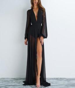 7c386271b090 Details about Women Sheer Black Maxi Dress Deep V Neck High Slit Long Party  Clubwear Sexy ZSEL