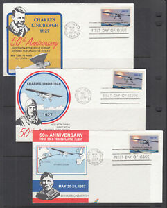 US-Pl-1710-H5-H7-FDC-1977-Charles-Lindbergh-Spectrum-Covers-FIRST-CACHET-set