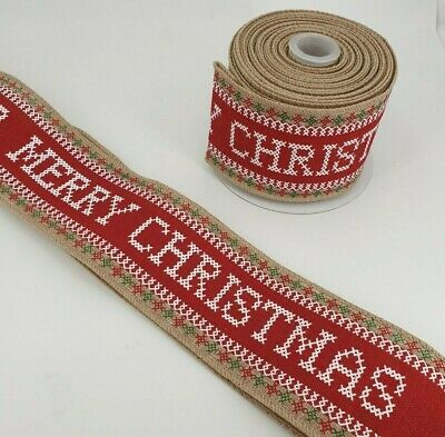 Sold Per Metre MERRY CHRISTMAS RIBBON Red and White Berisfords 15mm Ribbon