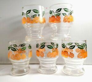 Vintage-orange-juice-glasses-Lot-of-5-glasses-3-5-034