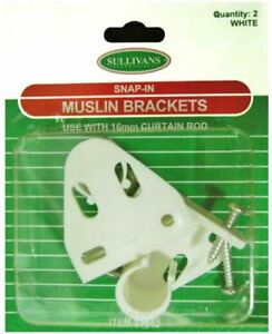 White Muslin Brackets - Use with 16mm Curtain Rods (2 Pk)