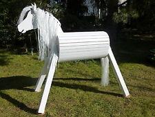 110cm Holzpferd  Voltigierpferd  Pferd Lipizzaner weiß wetterfest lasiert NEU