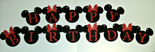 528B Hand Crafted Banner,Disney,Mickey and Minnie Happy Birthday Banner