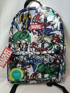 "Marvel Comics Avengers Print Backpack School Book Bag Boys 16/"" Superhero Comic"