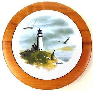 Patchell-Olson-Lighthouse-Scene-Rogue-Myrtlewood-Round-Tile-Wall-Hanging-Plaque
