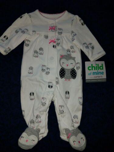 Preemie baby girl footie Child of Mine little owls white,black,gray