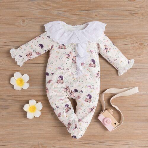 US Newborn Baby Girl Deer Clothes Ruffle Romper Jumpsuit Bodysuit Outfit Autumn