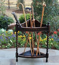 Antique English Oak Bobbin Twist CORNER Umbrella Stick Stand Hall Tree Drip Pan