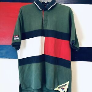 55bc9f34 Vintage 90s Tommy Hilfiger Color Block Spell Out Sailing Gear Polo ...