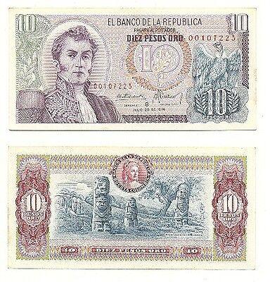 AU COLOMBIA 5 Pesos Oro 1976 Pick 406e 1976