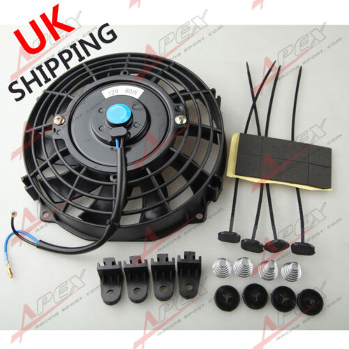 """Universal 7/"""" Radiator Electric Cooling Curved S-Blade Reversible Muscle Car UK"""