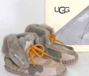 81893e28c6b Details about NEW INFANT BOYS XS 0/1 SLATE UGG SPARROW CAMO SUEDE SHEEPSKIN  BOOTIES BOOTS