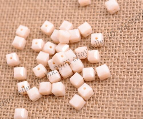 4MM//6MM//8MM Cube Square Faceted Rondelle Crystal Glass Loose Spacer Beads