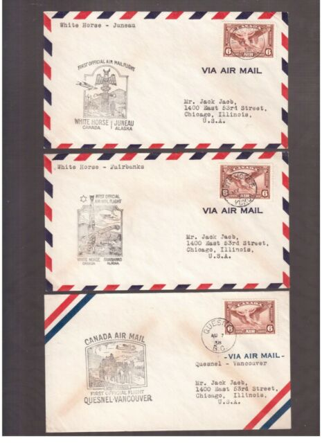 CANADA 1938 LOT OF 9 FIRST FLIGHT COVERS !!   3