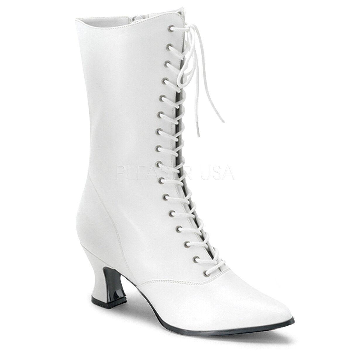 Cream Nude Victorian Vintage Costume Granny Granny Granny Lace Up Walking Boots size 8 9 10 11 3ca27f