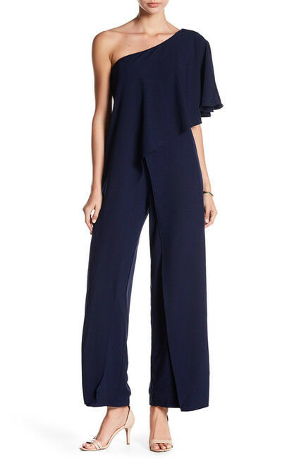 Marina Women's One Shoulder Ruffled Jumpsuit -NAVY Size 10 NEW