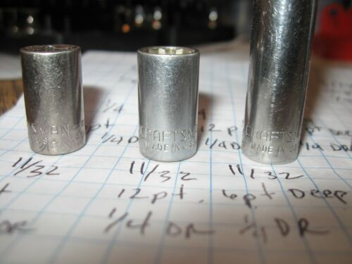 USA Craftsman sockets metric SAE 1//4 3//8 1//2 drive shallow deep price each