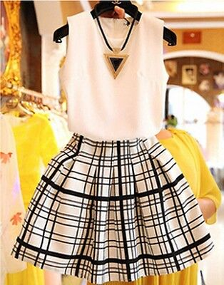 New Fashion 2016 Lady Clothes Korean Vest Casual Plaid & Checks Dress Suit