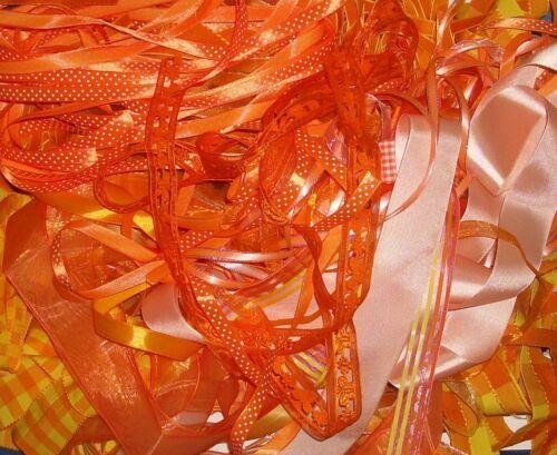 10 x 1 mètre de Assorted Random Orange Mixte Ruban de coupes Bundle chutes