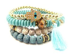 4-x-Single-Bracelet-Set-Layered-Cuff-Beaded-Bracelets-Boho-Beads-Wrist-Wrap-Aqua