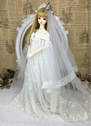 New Noble Handwork Lace Pattern White Wedding dress Suit 1//3 SD BJD Doll Clothes