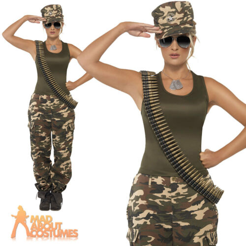 Ladies Army Girl Costume Camo Khaki Soldier Uniform Fancy Dress Womens Outfit
