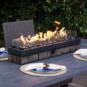Outdoor Tabletop Gas Fire Pit Patio Table Top Propane Rustic