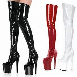Extreme-High-Heels-Zip-Mens-Cosplay-Platform-Ladies-Slimming-Boots-UK-1-10-tata