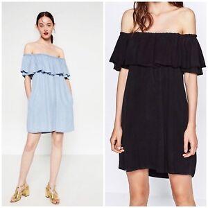 2d78b782c9b NWT ZARA Black Denim Frill Mini Dress Tunic Off Shoulder Size S M L ...