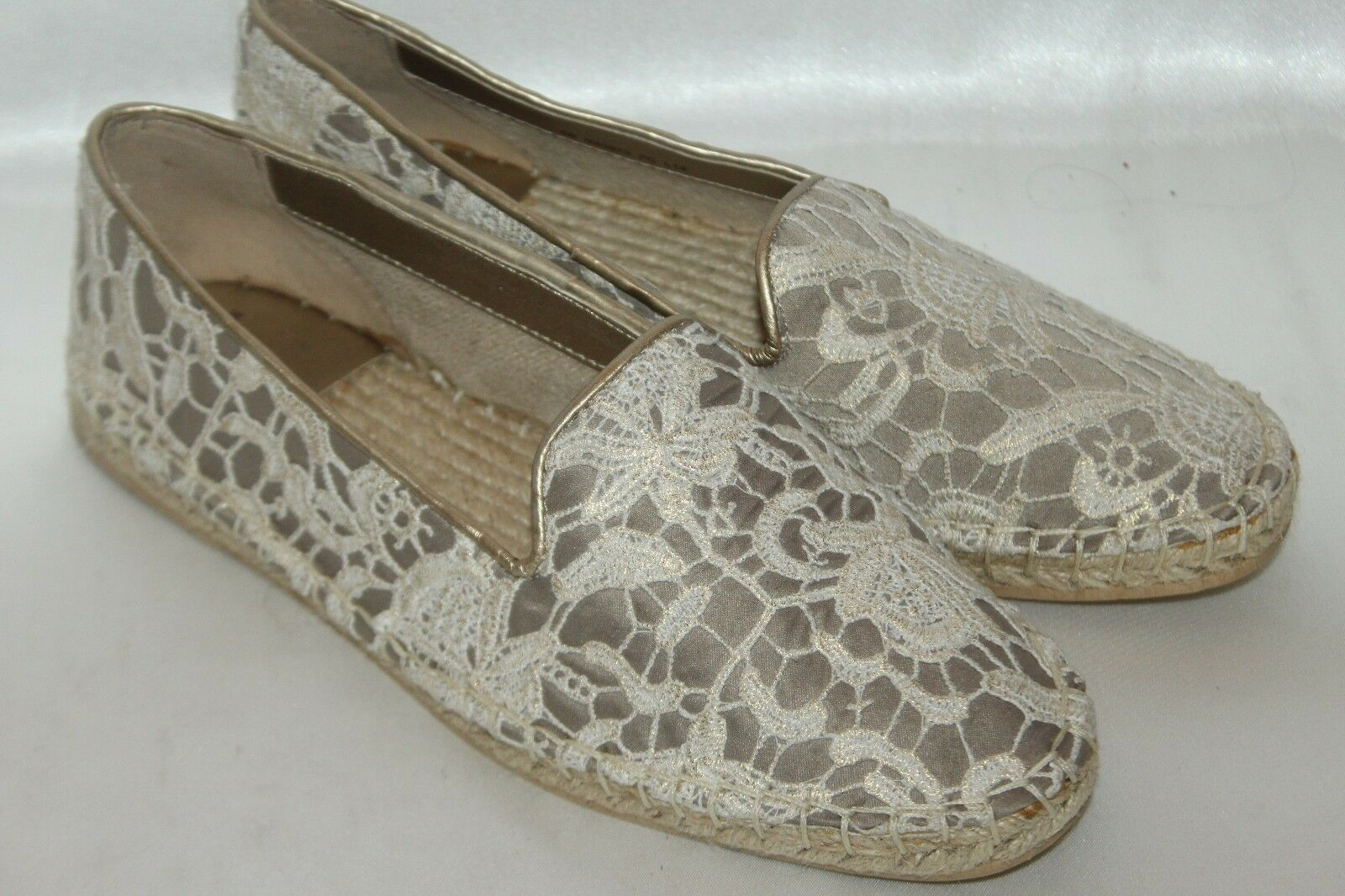 NEU  COLE HAAN Beige Metallic Ivory Lace PALERMO Espadrille Flats Loafers 6 128