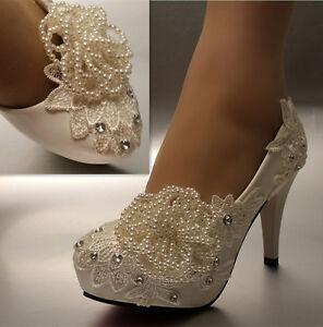White ivory lace beads flowers wedding shoes bridal 3 4 heels image is loading white ivory lace beads flowers wedding shoes bridal mightylinksfo