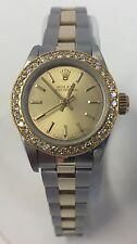 Ladies ROLEX 18k & S/S Oyster Perpetual 67193 Diamond Bezel Automatic Watch