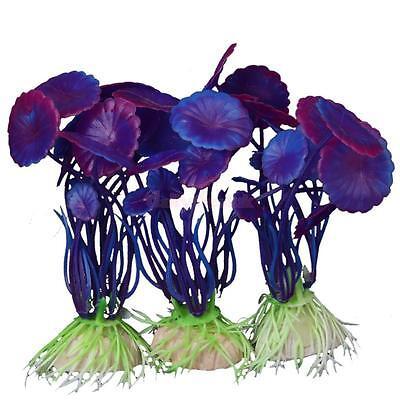3Pcs Aquatic Plastic Grass Plants Aquarium Fish Tank Ornament Decoration Purple