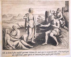 Gravure-Etching-Kupferstich-Bible-de-Royaumont-Sebastien-Leclerc-Job