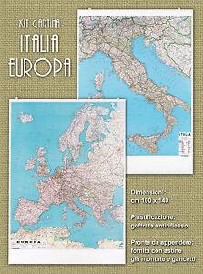 Kit-2-pz-Cartina-Geografica-Europa-Italia-cm-100x140-plastificata-fronte-retro