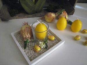 Tischgesteck Gesteck Landhaus Tablett Kerze Ostern Fruhling Rustikal